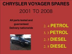 CHRYSLER VOYAGER AND GRAND VOYAGER PARTS 2001 TO 2008 DIESEL AND PETROL MODELS