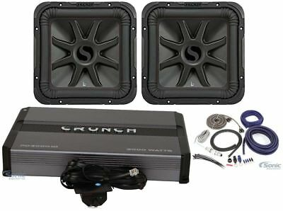 "(2) KICKER 45L7R124 12"" 2400w L7R Subwoofers Solo-Baric+Mono Amplifier+Amp Kit"