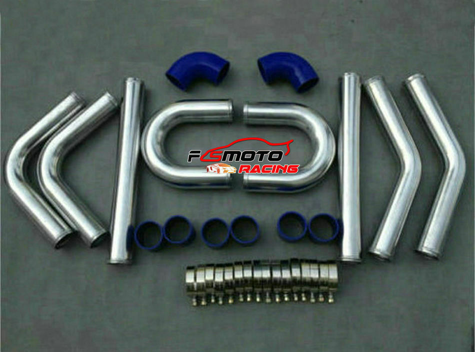 "2.5/"" 64mm Aluminum Universal Intercooler Turbo Piping pipe Kit /& Blue hose kit"