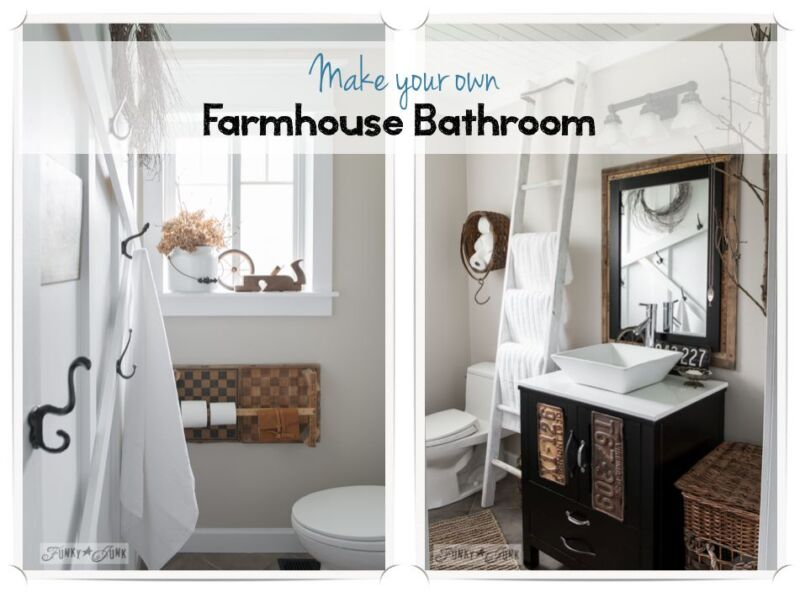 How To Turn A Modern Bathroom Into One Filled With Farmhouse Charm By Funky Junk