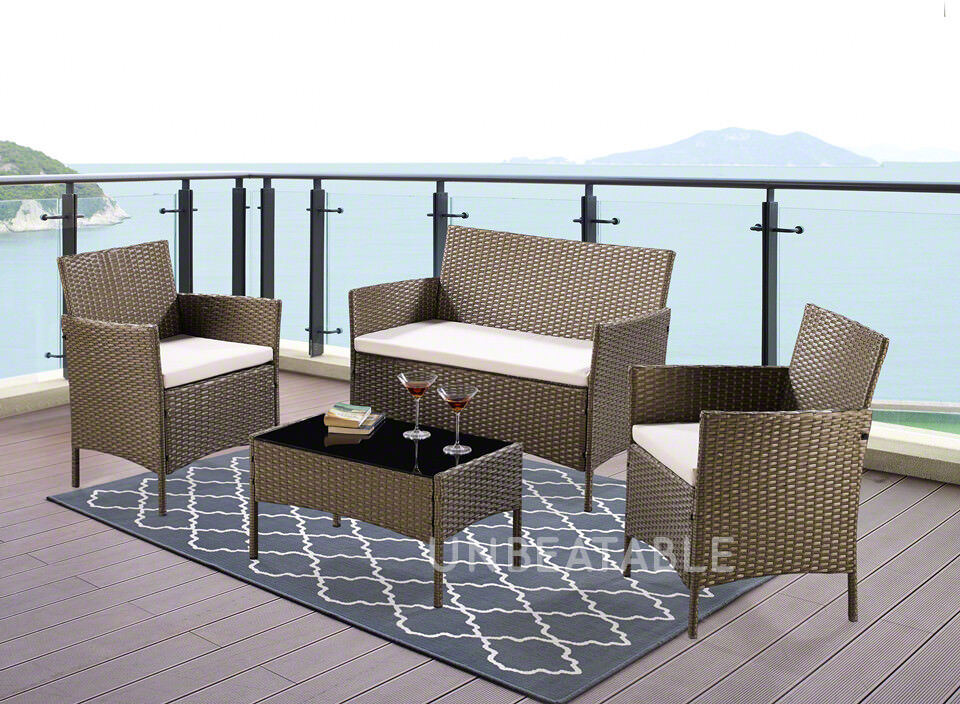 Garden Furniture - 4 or 5 Piece Rattan Garden Furniture Set Choice of Colour with Cover Brand New