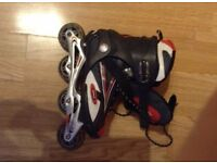Roller blades size 6 good condition red and black kids sport