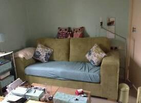 beautiful green corduroy 2 & 3 seat sofa