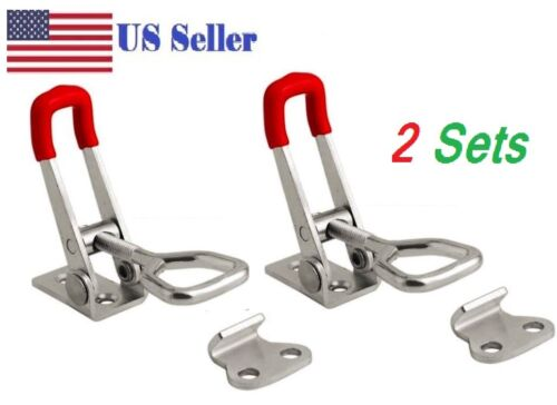 2pcs Steel Toggle Latch Catches Adjustable Lock Clamp For Boxes Case