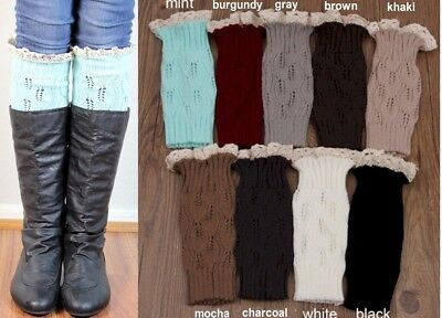 Lace BOOT CUFFS Knitted Leg Warmer Topper *Emme* USA Seller FREE SHIP Lace Boot Topper