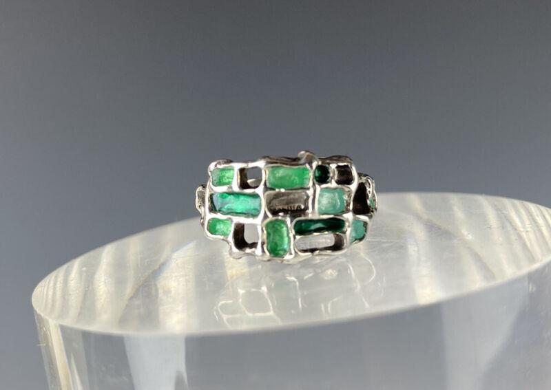 VTG David Andersen Karl Jorgen Otteren Modern Sterling Silver Green Enamel Ring