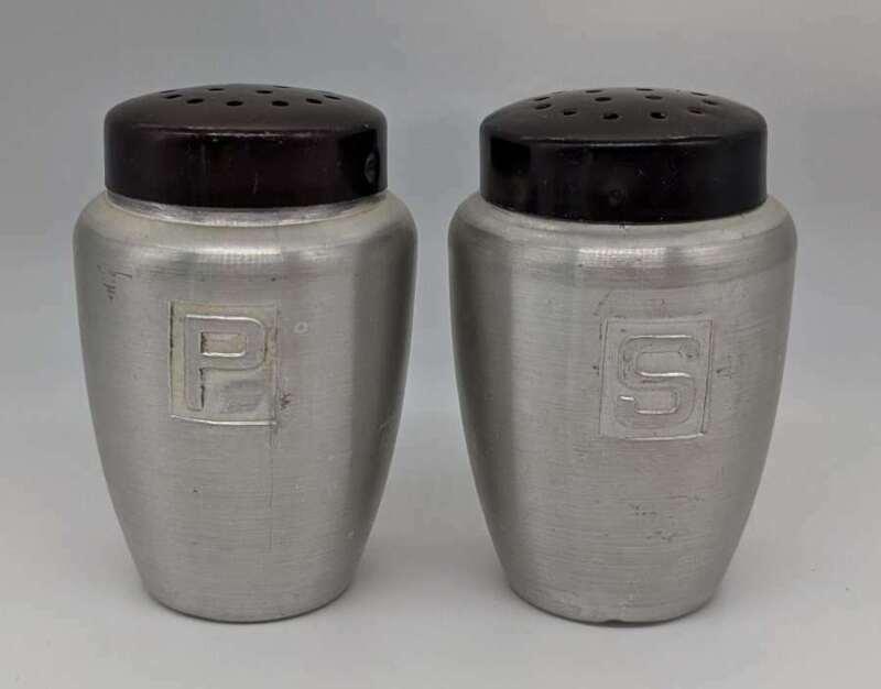 Vintage Japan Aluminum Salt & Pepper Shaker Set