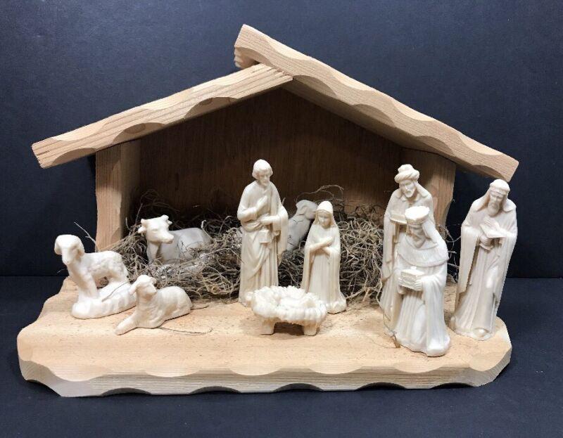 Ceramic Wood Nativity Set Mexico