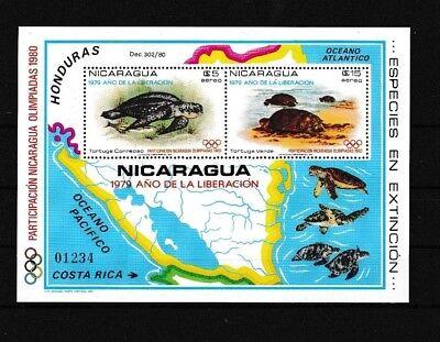 Nicaragua Bl.114** SCHILDKRÖTE TURTLE WILD LIFE SEA LIFE OLYMPIA OLYMPIC GAMES