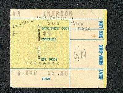 1974 Emerson Lake & Palmer concert ticket stub Long Beach CA Brain Salad Surgery