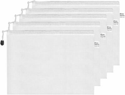 White 12 x A4 Zipper Bag Zip Closure Document File Paper Storage