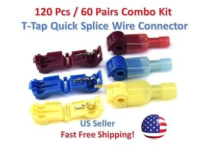 120pc Insulated 22-10 Awg T-taps Quick Splice Wire Terminal Connectors Combo Kit