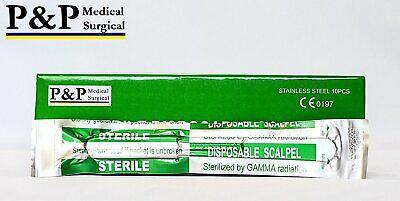 Disposable Scalpels Sterile Size 11 Plastic Handle Metric Line Box Of 10