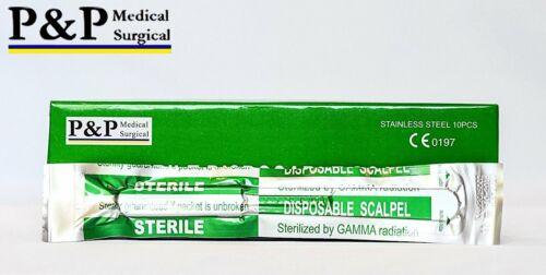Disposable Scalpels Sterile Size 10 Plastic Handle & Metric Line Set of 5