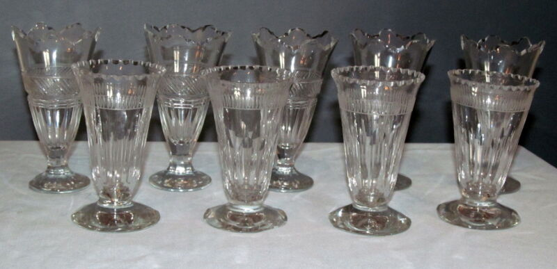 Antique Wine Glass Lot 9 Pieces Engraved