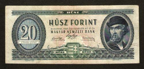 Hungary Ungarn 20 Forint 1947 . Scarce date . Pick # 162 . Rare banknote