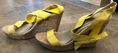 Qupid Yellow Wedge Heel Shoes Size 9