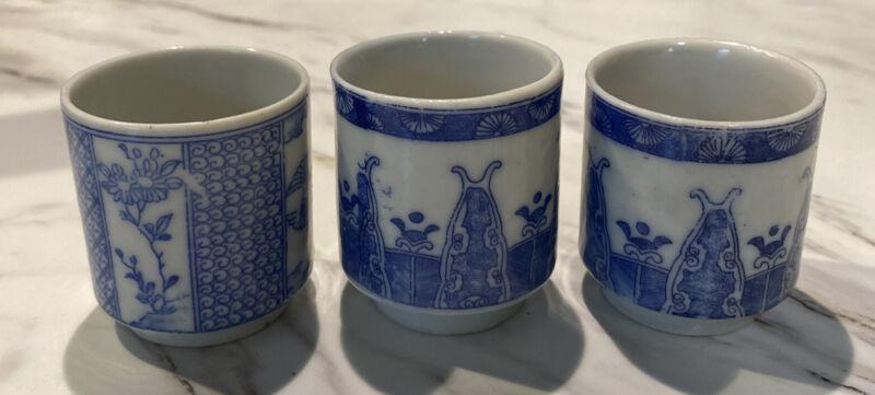 "Vintage Ceramic Asian Sake Cups 3 Blue & White Porcelain 2.5""×1.75"""