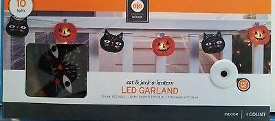 New Halloween 10 LED lighted Garland Jack-O-Lantern & Black Cat String Lights