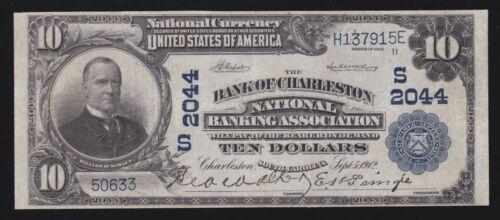 US $10 1902 National Bank of Charleston S.C. Charter #2044 FR 628 VF-XF (915)