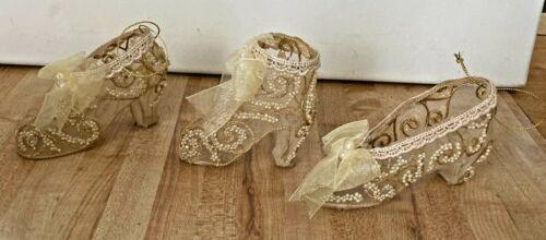Gold High Heel Shoe Christmas Ornaments Set of 3 IOB