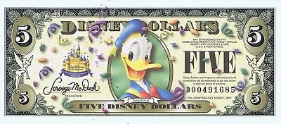 WDW 2005 D $5 RARE WITH BARCODE UNC Disney Dollar DONALD D00491685 MINT Dollars