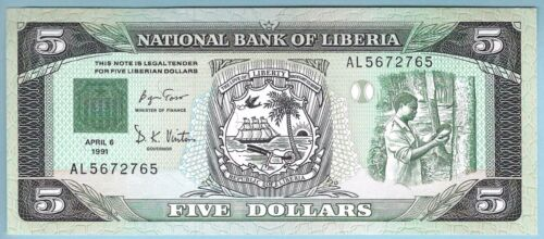Liberia - 5 Dollars - 06.14.1991 - WPM# 20