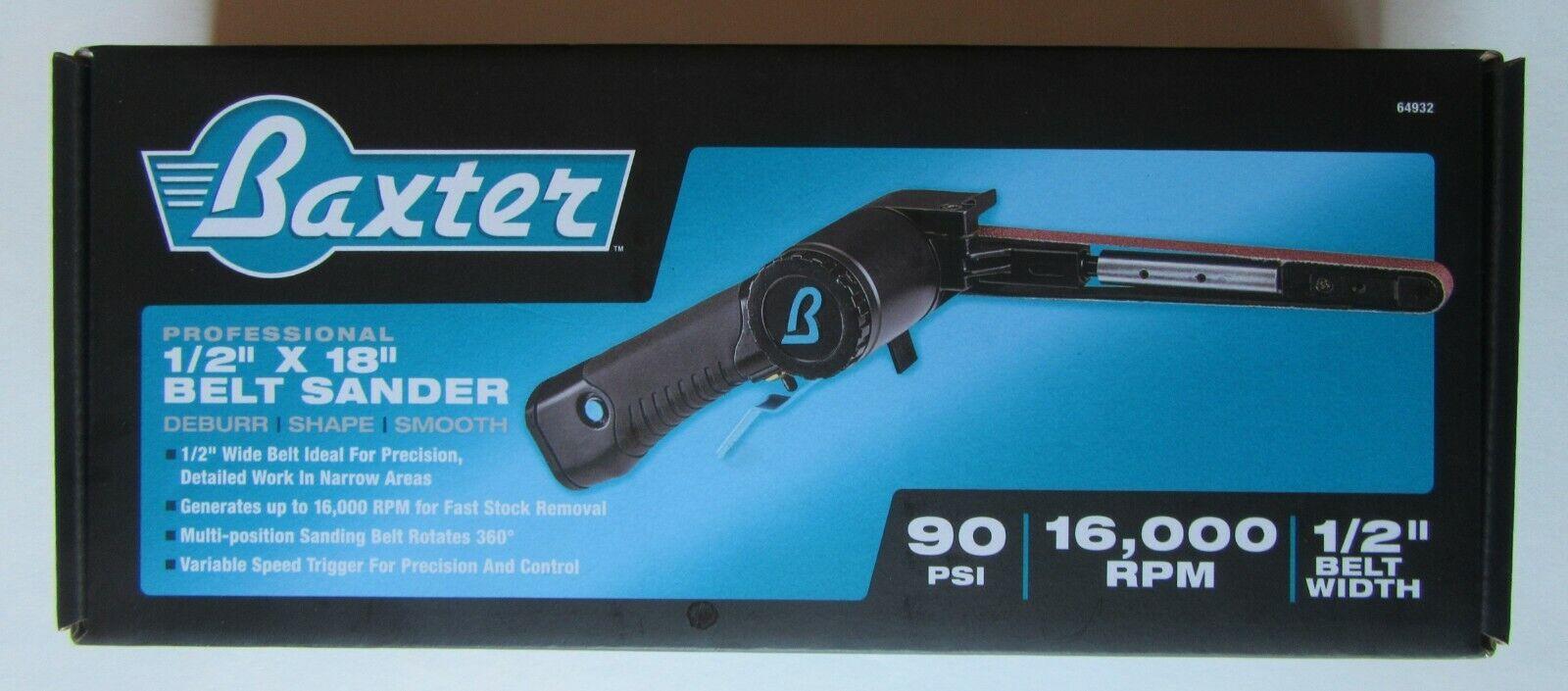 """Baxter Professional Belt Sander #64932, 1/2"""" X 18"""", 90PSI, 1"""