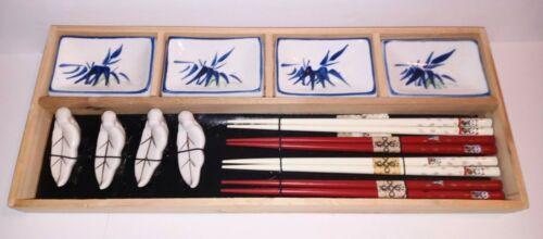 Vintage Japanese Sushi Set Chopsticks Set Saki Sushi Platter NOS WCL China