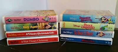 Vintage Disney VHS LOT 8 Pinocchio PoppinsPink Dumbo Christmas Pete's Clamshell