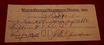 1918 Salt Lake City Utah State National Bank  Check Mill Dues  J E Openshaw