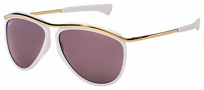 Ray-Ban Olympian Aviator Sunglasses RB 2219 1289AF 59 White / Gold | Violet (Ray Ban Aviator White)