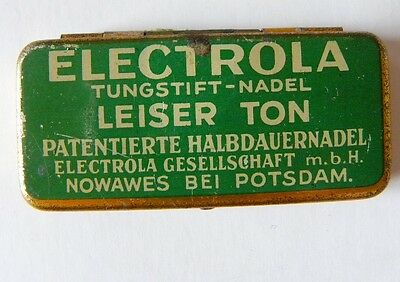 NADELDOSE für Grammophon-ELECTROLA tungstift grün-needle tin empty-leer