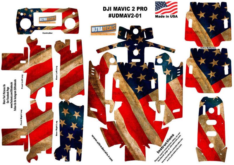 American USA Flag DJI Mavic 2 Pro Zoom Skin Wrap Decal Sticker Battery Body U...