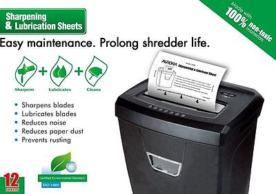 Aurora SP1000 Shredder Lubrication and Sharpening Sheets Pack of 12 NEW FREE P&P