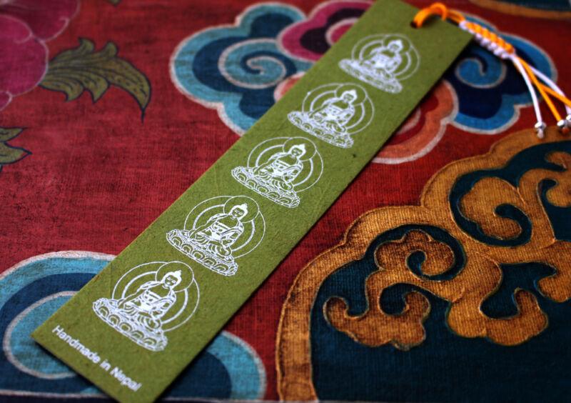 Handmade Lokta Paper Buddha Bookmarks with Charm Tassel