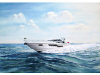 WATER-COLOUR OF SUNSEEKER BOAT CRASHING THROUGH THE WAVES
