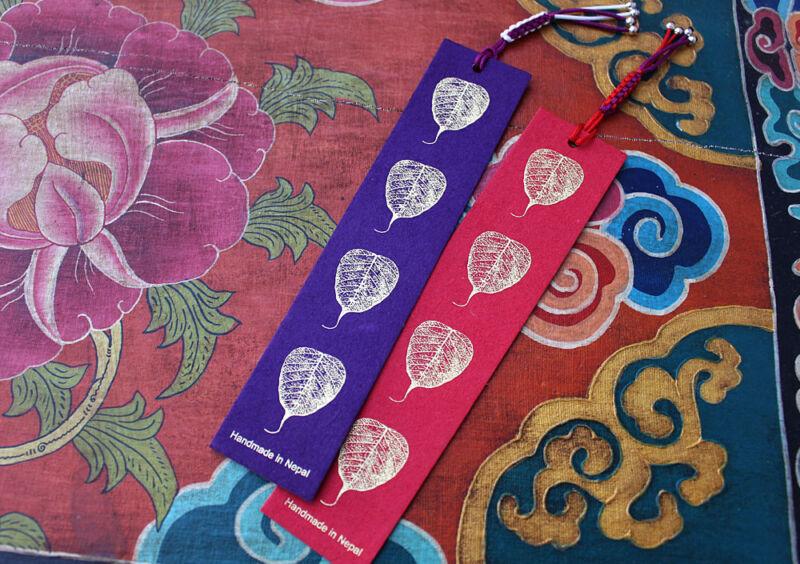 Leaf Lokta Paper Bookmark with Charm Tassel