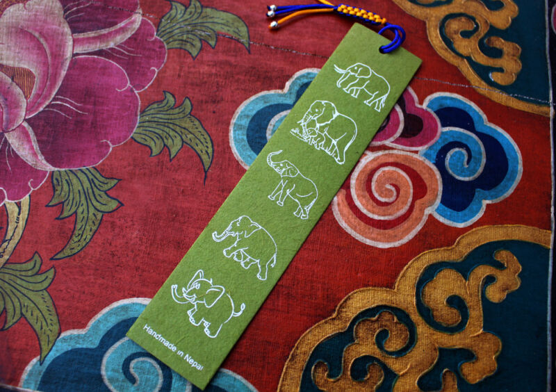 Fairtrade Elephant Lokta Paper Bookmarks with Charm Tassel