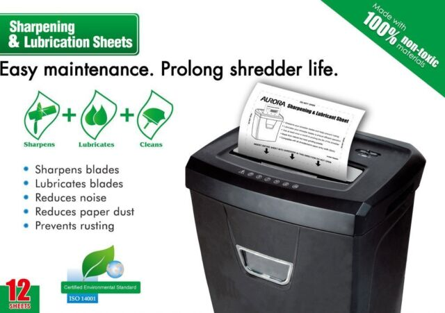 Aurora SP1000 Shredder Lubrication and Sharpening Sheets Pack of 12 NEW
