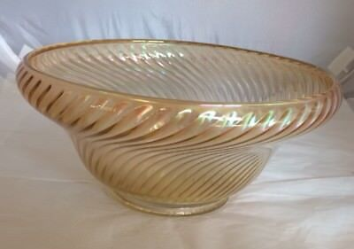 Vintage Carnival Glass Large Bowl Round with Swirl Pattern EUC