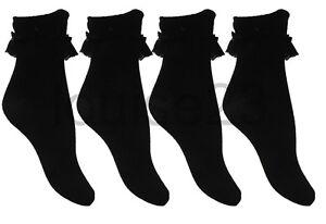 K07-GIRLS-TEENS-OLDER-GIRLS-6prs-FRILLY-LACE-COTTON-SOCKS-12-3-4-6-BLACK-COLOR