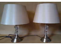 x 2 bedside table lamps with cream shades