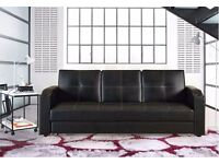 CINEMA STYLE 3 SEATER ITALIAN PU LEATHER SOFA BED SETTEE WITH STORAGE DRAWER Black & Brown
