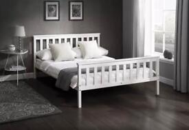 BZAMS / White Solid Pine 4ft6 Bed With Option Choice Of Mattress