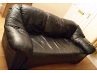 Three Seater Leather Sofa Black