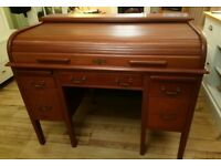 Vintage Antique Mahogany Tambour Roll Top office Writing Desk Lockable with key 1920's