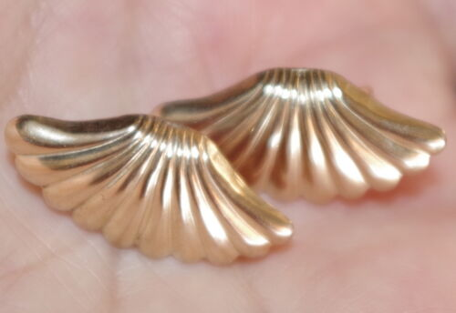 VINTAGE A & Z 14K GOLD FILLED LARGE 27MM FAN SHAPED STUD EARRINGS & 10K BACKS CC