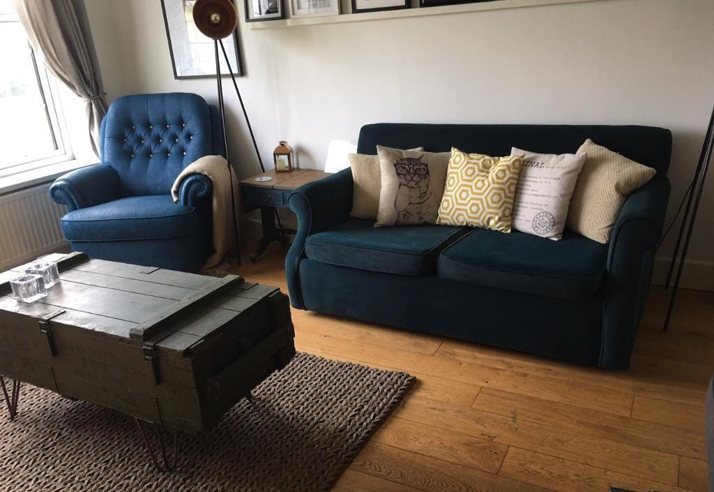 Velvet Double Sofa Bed Dark Petrol Green Blue Can Deliver In