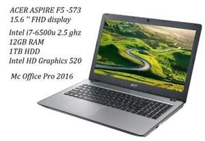 ACER ASPIRE F15 , F5-573 ,15.6'' FHD, quad i7-6500u TURBO 3.5GHZ,12GB memory,1TB HDD + MCoFFICE Pro 2016 , new/box